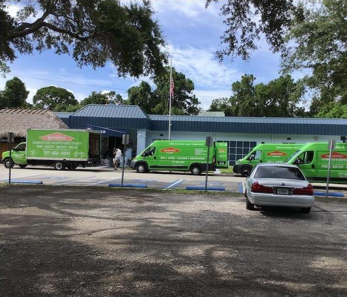 Green SERVPRO vehicles ready for action.