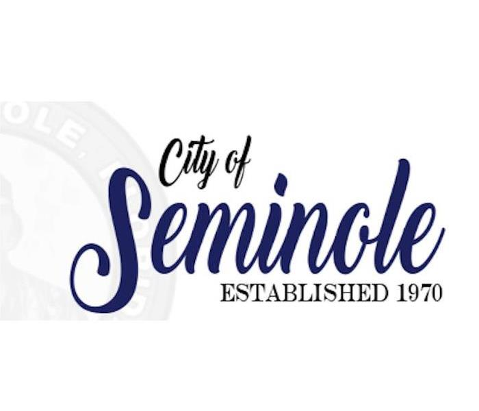 City of Seminole Established 1970 written in black and blue on a white background